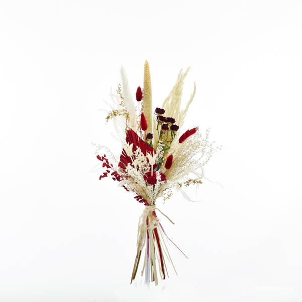 Trockenblumenstrauß Rote Verführung M | Trockenblumen weiss-natur-rot Pampasgras, Babala, Palmspear