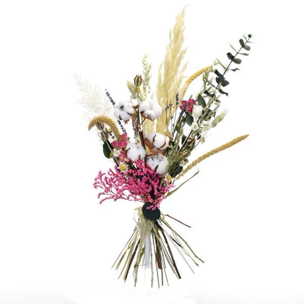 Trockenblumenstrauß Tausendschön L | | Trockenblumen natur-bunt-farbig | Pampasgras, Baumwolle, Eukalyptus