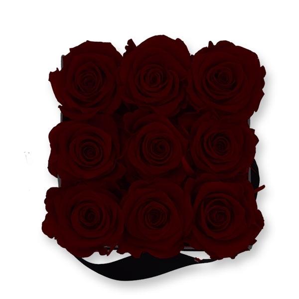 Rosenbox Infinity Rosen bordeaux | Flowerbox eckig | M Modern white