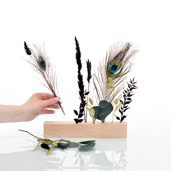 Trockenblumen   Blütenleiste   Pfauenglanz   grün-schwarz-gold