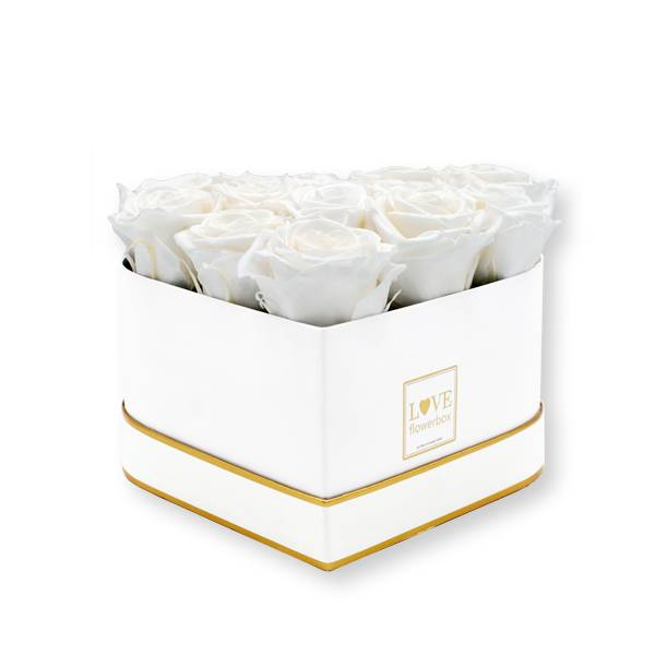 Rosenbox Herz Infinity Rosen weiss   Flowerbox Herzbox   M white gold