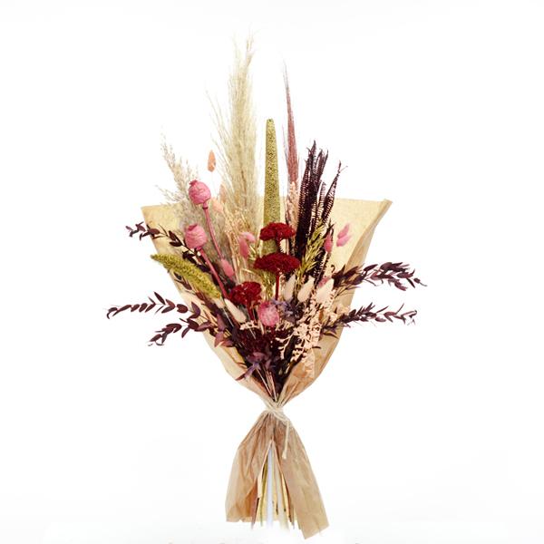 Trockenblumenstrauß Goldstaub L | Trockenblumen natur-burgund-gold