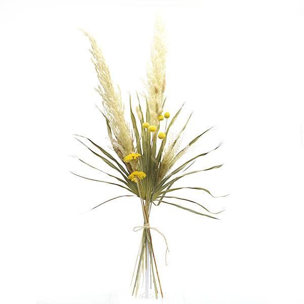 Trockenblumenstrauß Mix | Set Wiesenliebe | Trockenblumen weiss-natur-gelb-grün | Pampasgras, Craspedia, Trommelschlegel, Schafgarbe