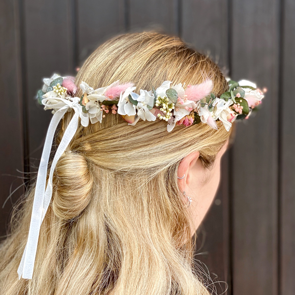 Trockenblumen Kopfkranz Braut | Trauzeugin | Zarte Liebe | weiss-rosa-pink-grün