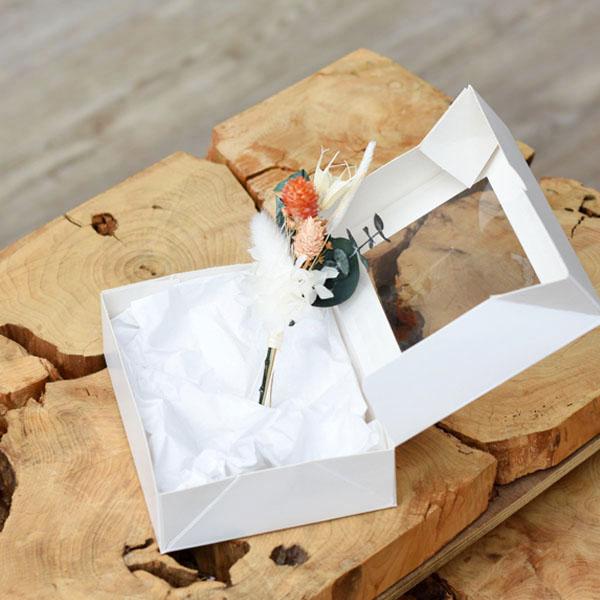 Trockenblumen Anstecker Bräutigam | Pastellzauber | weiss-aprikot-grün
