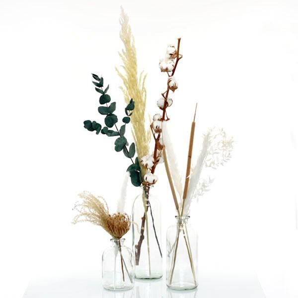 Trockenblumenstrauß Set mit 3 Flaschenvasen Natur Pur   weiss-natur-braun-gruen