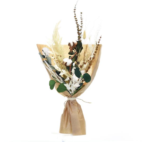 Trockenblumenstrauß Natur Pur M | Trockenblumen weiss-natur-grün-braun