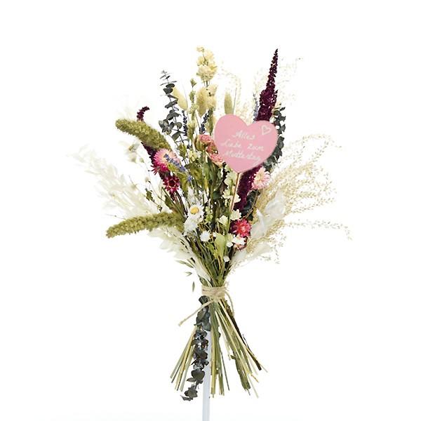 Trockenblumenstrauß Sommerliebe L   Pampasgras, Rittersporn, Strohblumen   Trockenblumen bunt-pink-lila-grün Muttertag