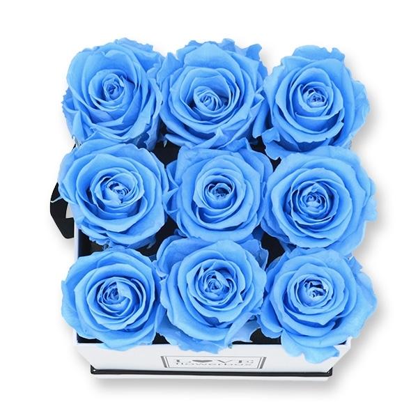 Rosenbox Infinity Rosen hell blau   Flowerbox eckig   M Modern white