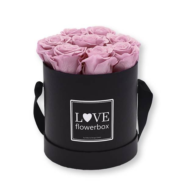 Flowerbox_rosenbox_blumenbox_rund_Medium_schwarz_Infinity_Rosen_mauve_malve_altrosa.jpg