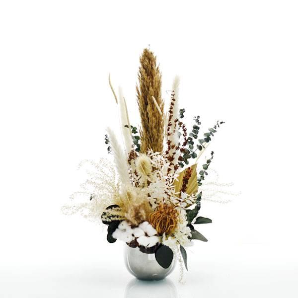 Trockenblumen Gesteck | Keramik Topf silber | Natur Pur | weiss-natur-grün-braun | Eukalyptus, Pampasgras, Baumwolle, Palmspear, Ruskus
