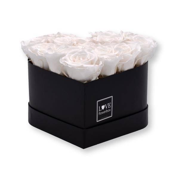 Flowerbox Herz | Medium | Rosen Pure White (Weiss)