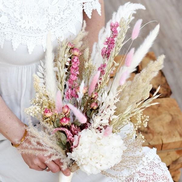 Trockenblumen Brautstrauß | Brautstrauss Trockenblumen | rosa pink natur weiß