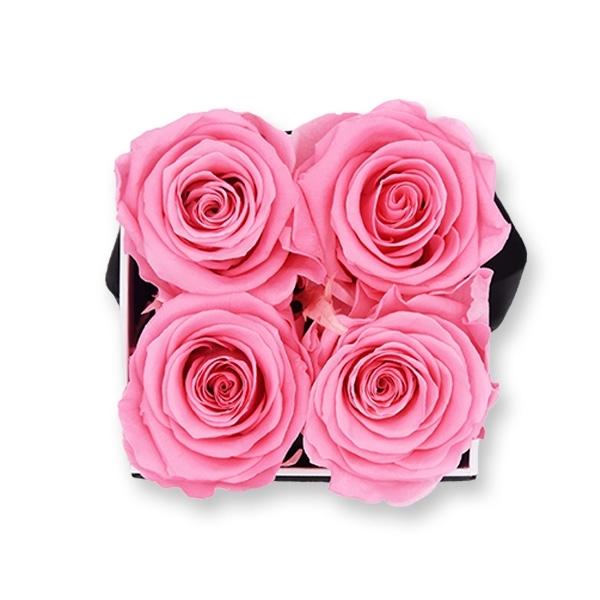 Rosenbox Infinity Rosen baby rosa | Flowerbox eckig | S Modern black