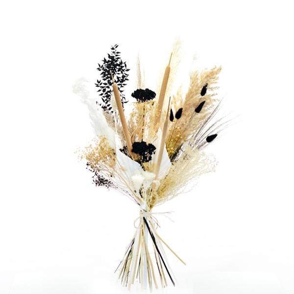 Trockenblumenstrauß Naturliebe L   Trockenblumen weiss-natur-schwarz-gold