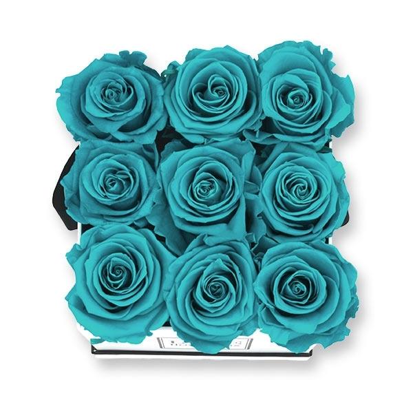 Rosenbox Infinity Rosen türkis | Flowerbox eckig | M Modern white