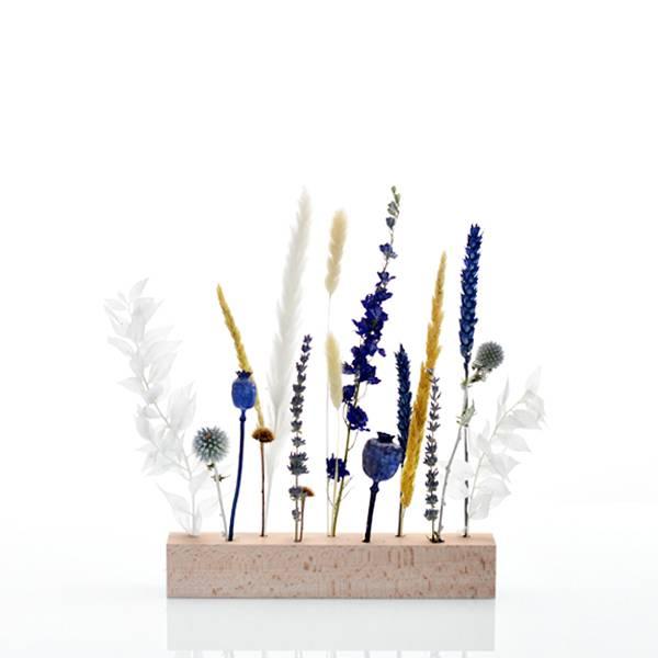 Trockenblumen | Blütenleiste | Holzleiste | Wasserspiel | weiss-natur-blau