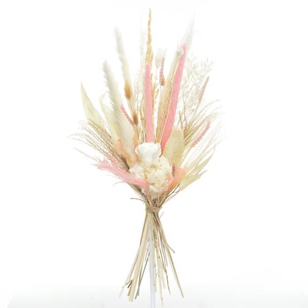 Trockenblumenstrauß Rosen Versuchung L | Trockenblumen weiss-rosa | Pampasgras, Infinity Rosen, Regenschirmfarn