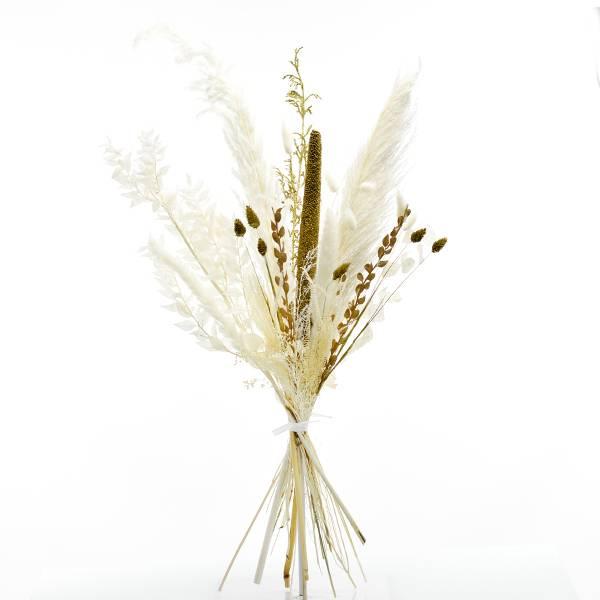 Trockenblumenstrauß Goldene Eleganz L | Trockenblumen weiss-gold