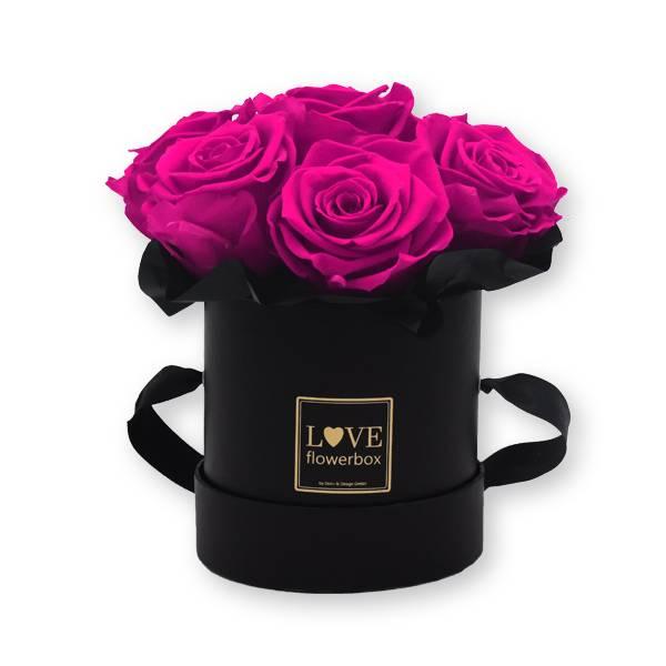 Flowerbox Bouquet gold | Small | Rosen Hot Pink (Pink)