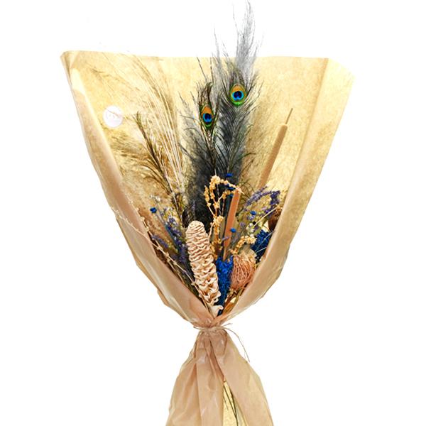 Trockenblumenstrauß Blaue Oase XL | Trockenblumen weiss-natur-blau-braun