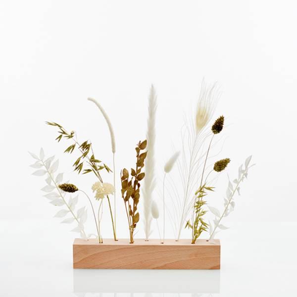Trockenblumen | Blütenleiste | Goldene Eleganz | weiss-gold