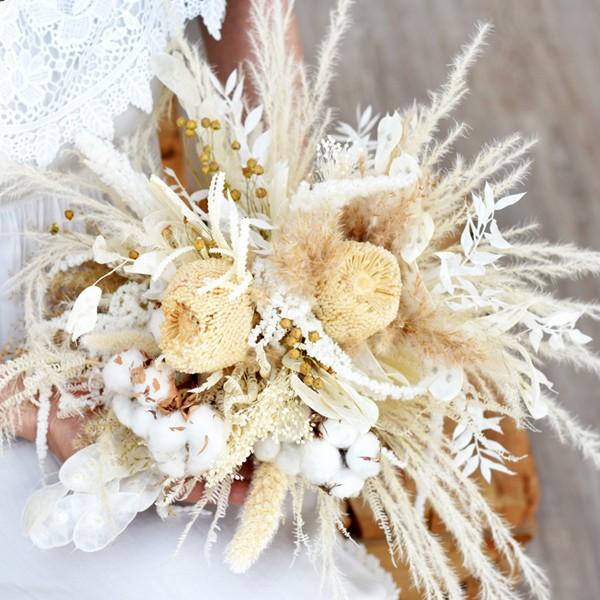Trockenblumen Brautstrauß Boho Traum | Trockenblumenstrauß Hochzeit | Boho weiss 2