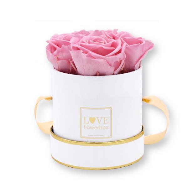 Rosenbox Infinity Rosen rosa | Flowerbox | Blumenbox | Small Modern white gold