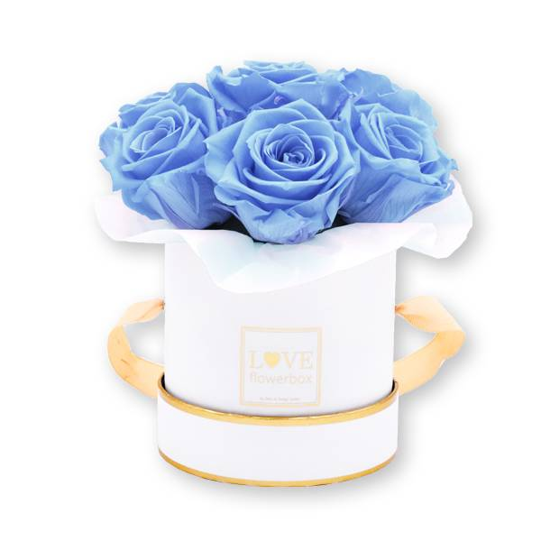 Flowerbox_rosenbox_blumenbox_rund_Small_weiss_gold_Bouquet_Infinity_Rosen_babyblue_hellblau_1.jpg