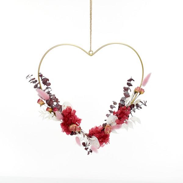 Herz mit Trockenblumen Glücksmoment   Metall gold 30cm   Hortensie