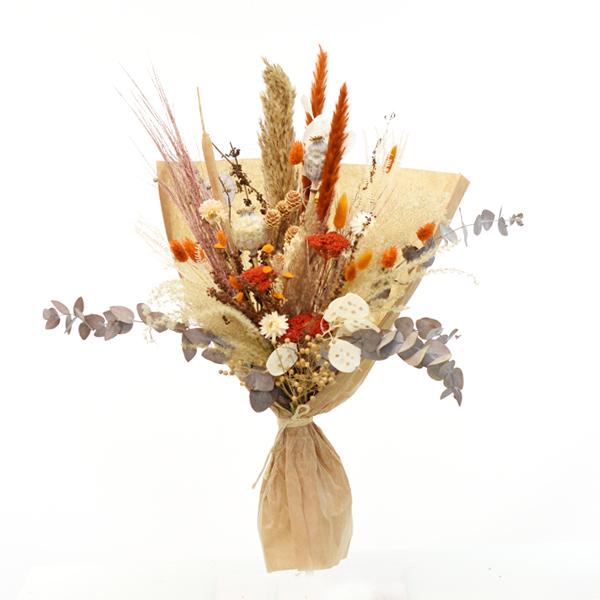 Trockenblumenstrauß Morgenrot L | Trockenblumen natur-orange-amber-braun
