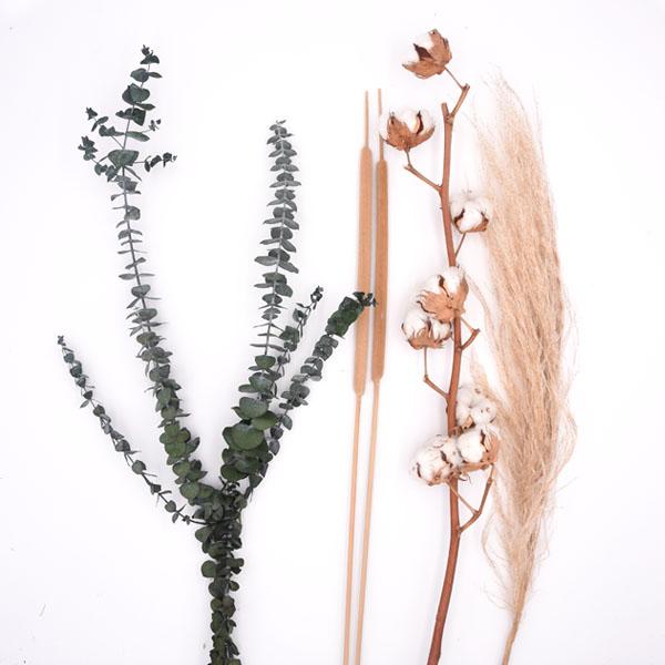 Trockenblumenstrauß Mix | Set Boho | Trockenblumen weiss-natur-grün