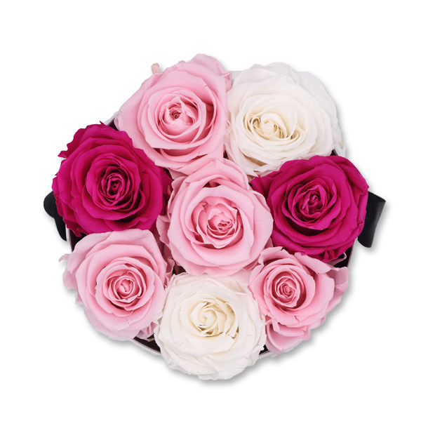 Rosenbox Infinity Rosen pastel weiss rosa pink | Flowerbox | Blumenbox | M Modern white