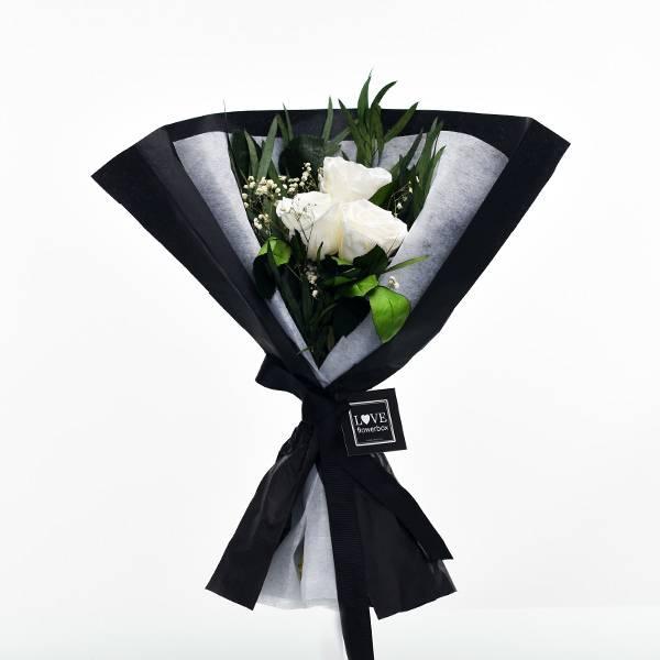 Rosenstrauß | Blumenstrauß mit 3 langstieligen Infinity Rosen | Weiss