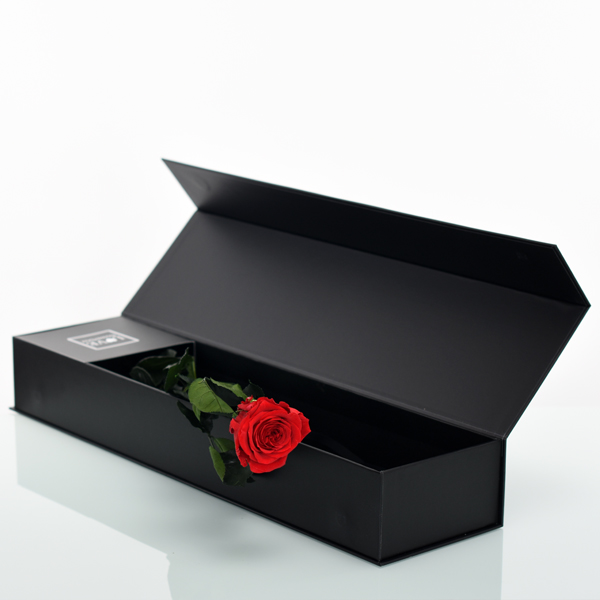 Rosenbox mit langstieliger Infinity Rose rot | Flowerbox | Blumenbox | black
