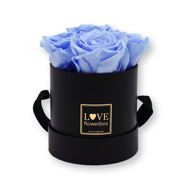 Flowerbox Modern gold | Small | Rosen Baby Blue (Hellblau)