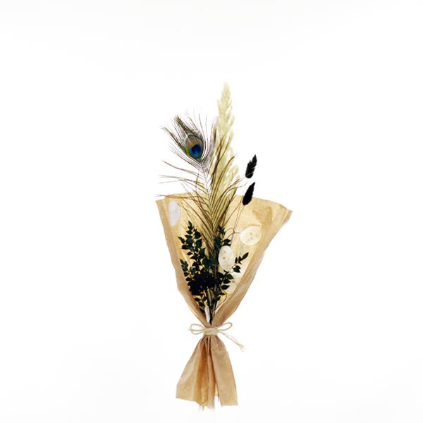 Trockenblumenstrauß Pfauenzauber S | Trockenblumen weiss-natur-grün