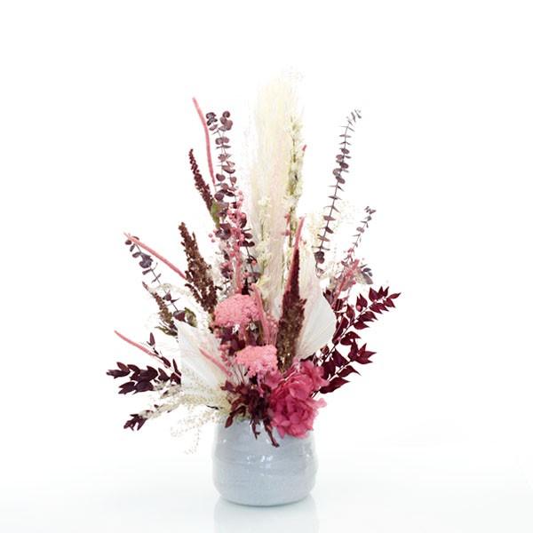 Trockenblumen Gesteck | Keramik Topf grau | Glücksmoment | rosa-bordeaux-natur-himbeere