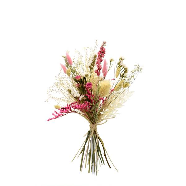 Trockenblumenstrauß Traumfarben M | Trockenblumen weiss-rosa-pink | Pampasgras, Rittersporn, Rosen