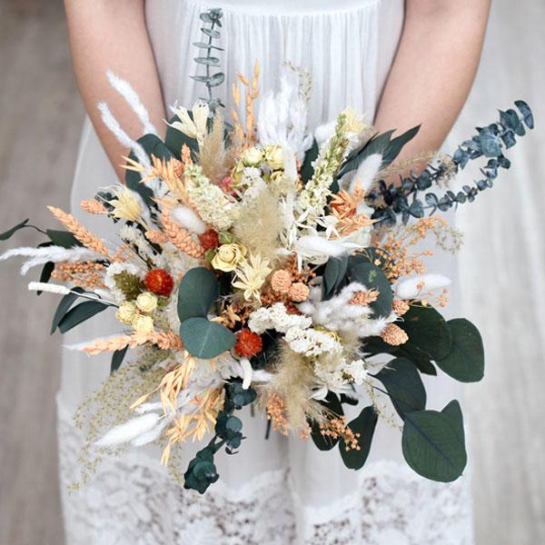 Trockenblumen Brautstrauß | Pastellzauber | weiss-aprikot-grün
