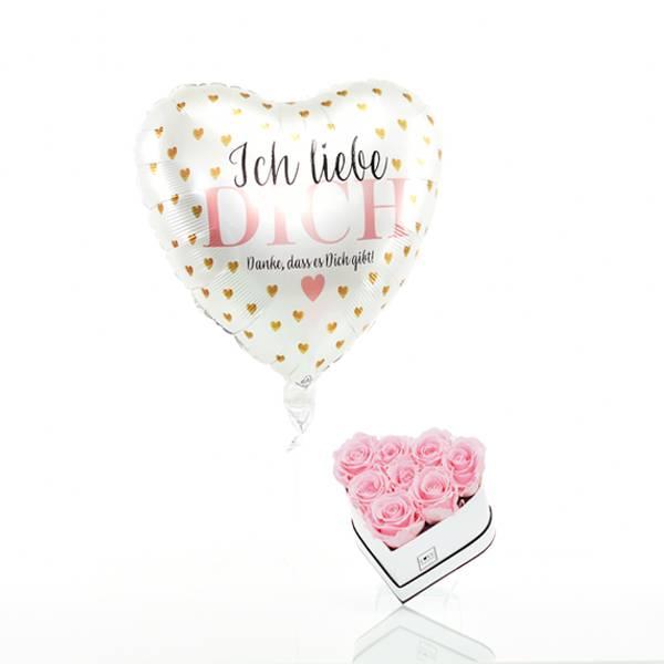 Flowerbox Set Herz | Small | Rosen Bridal Pink | Heliumballon