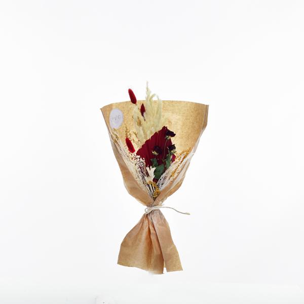 Trockenblumenstrauß Rote Verführung S | Trockenblumen weiss-natur-rot