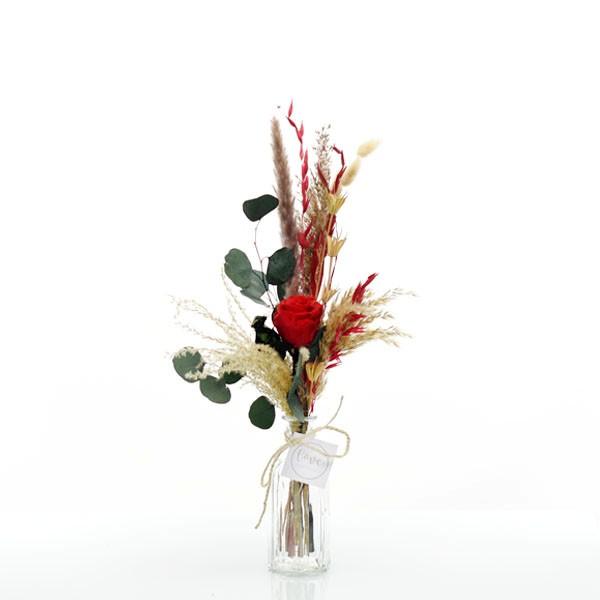 Trockenblumenstrauß Rote Liebe mit Infinity Rose rot mit Flaschenvase