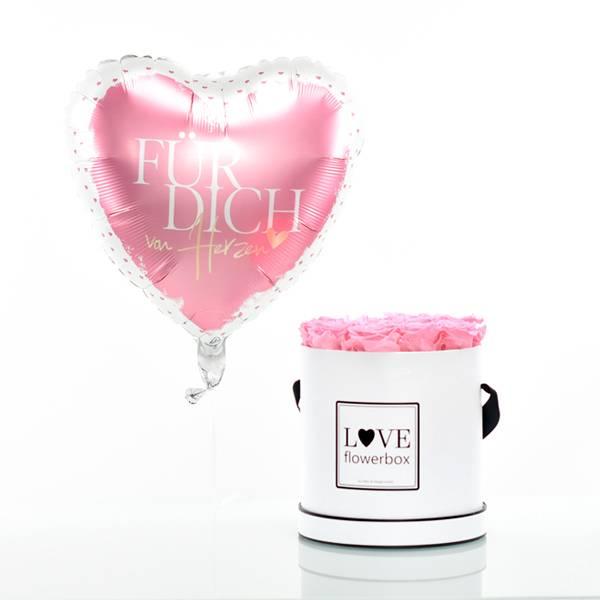 Flowerbox Set Modern   Large   Rosen Baby Pink   Heliumballon