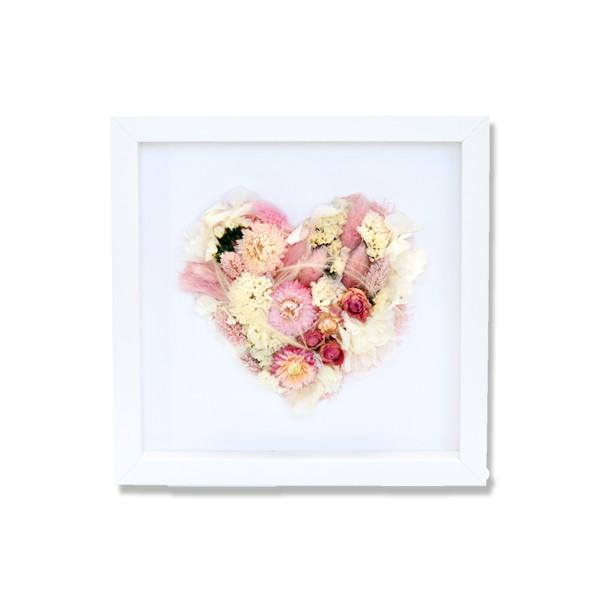 Trockenblumen Bilderrahmen Herz | Rosé | weiss-rosa-pastell
