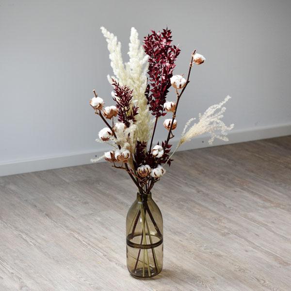 Trockenblumenstrauß Mix | Set Ruskusliebe | Trockenblumen weiss-rot-bordeaux