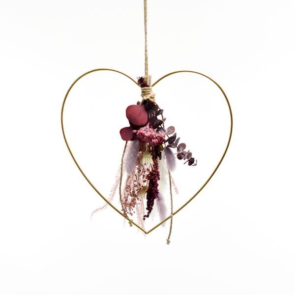 Herz mit Trockenblumenstrauß Naturschönheit | gold 30 cm | Trockenblumen weiss-rosa-flieder-beere
