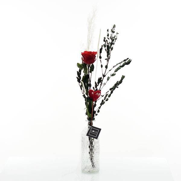 Trockenblumenstrauß | Infinity Rose rot mit Eryanthus in Flaschenvase