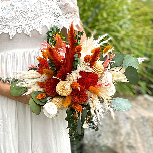 Trockenblumen Brautstrauß   Amberliebe   natur-amber-orange
