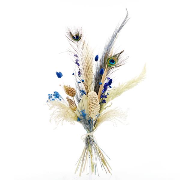 Trockenblumenstrauß Blaue Oase L   Trockenblumen natur-blau   Pfauenauge